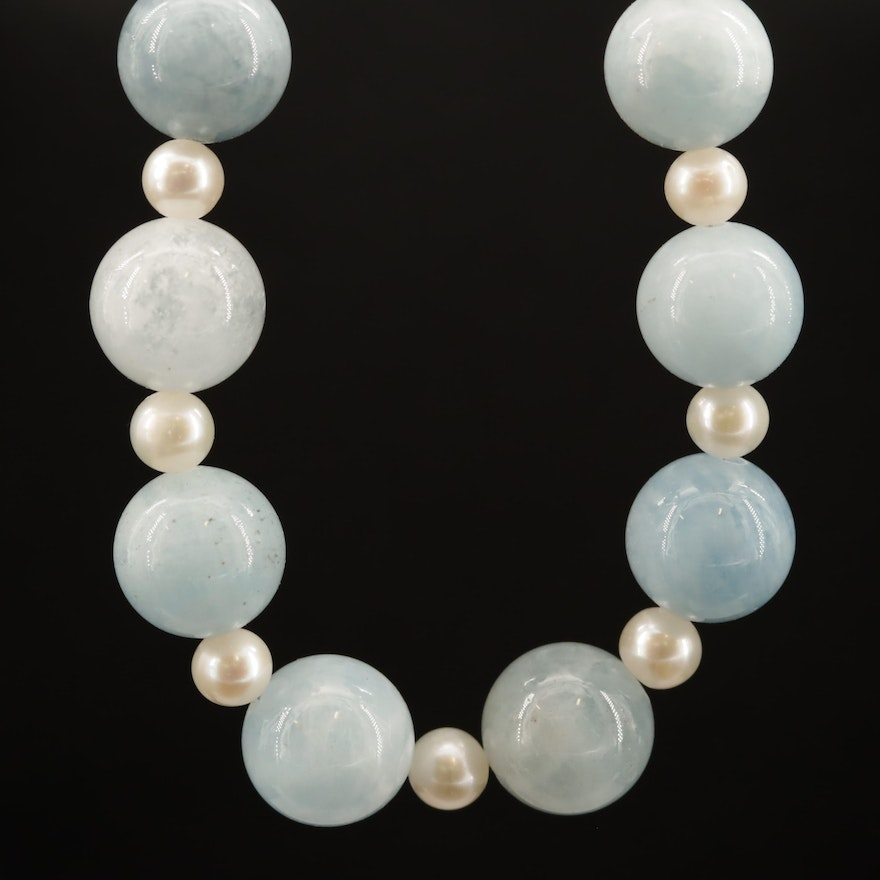 Beaded Aquamarine and Pearl Necklace with Sterling Silver Clasp