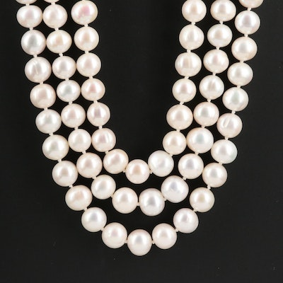 Graduated Semi-Baroque Pearl Triple Strand Necklace with 14K Clasp