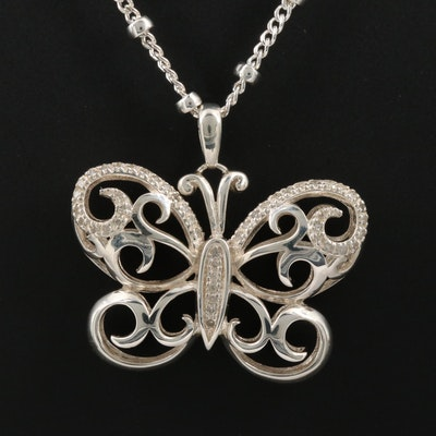 Sterling Silver Diamond Butterfly Pendant Necklace