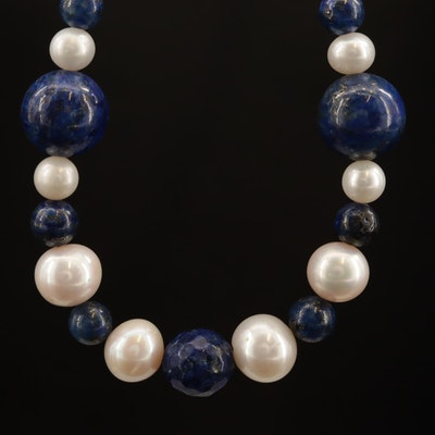 Beaded Lapis Lazuli and Cultured Pearl Necklace With Sterling Silver Clasp
