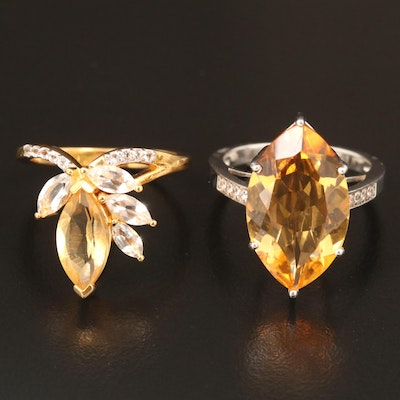 Sterling Citrine, Zircon and Sapphire Rings