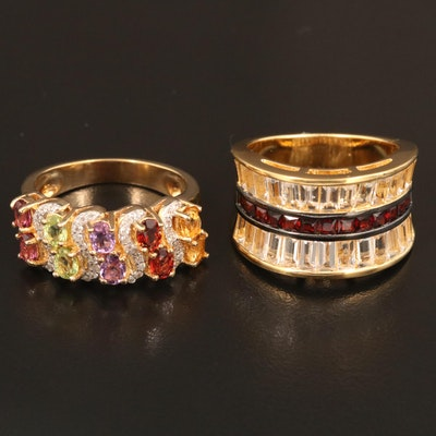 Sterling Silver Rings Featuring Garnet, Peridot, and Amethyst