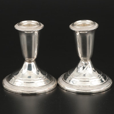 Crown Weighted Sterling Silver Candle Sticks, Mid-20th Century