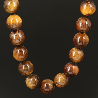 Endless Tiger's Eye Beaded Necklace