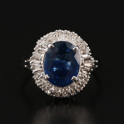 Platinum 2.90 CT Sapphire and Diamond Ring