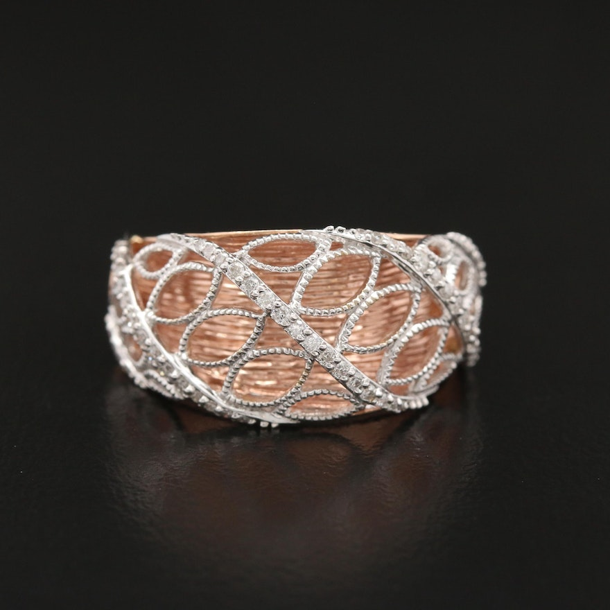 14K Rose and White Gold Diamond Openwork Domed Ring