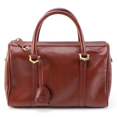 Must de Cartier Bordeaux Leather Boston Style Handbag, 1970s Vintage