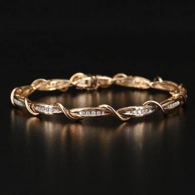 10K Diamond Wire Crossover Bracelet