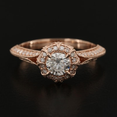 14K Rose Gold 1.00 CTW Diamond Ring