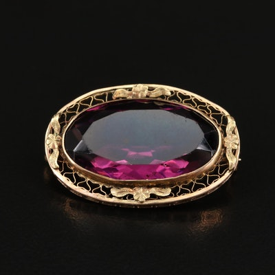 Circa 1900 10K Faceted Glass Brooch