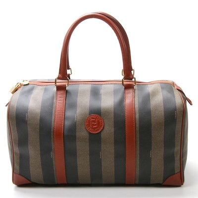 Fendi Pequin Striped Coated Canvas and Leather Top Handle Boston Bag