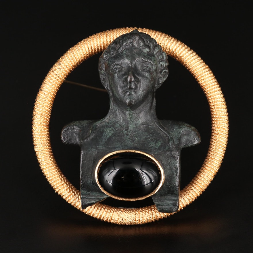 """1971 Historian Diane Love for Trifari """"Bust of Hermes"""" Large Scale Brooch"""