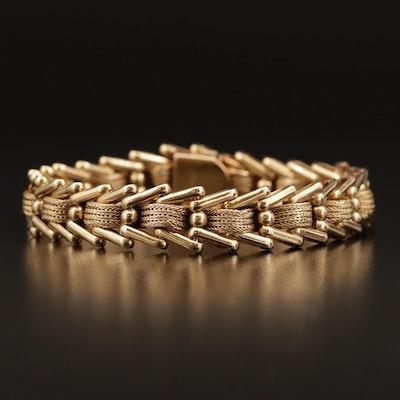 Vintage 14K Gold Fancy Woven Link Bracelet