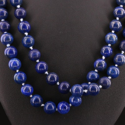 Eternity Strand Beaded Lapis Lazuli Necklace