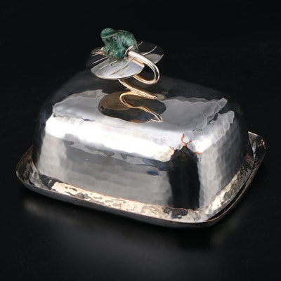 Emilia Castillo Hammered Silver Plate and Malachite Frog Covered Butter Dish