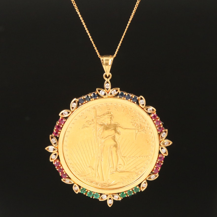 18K and 14K Gemstone Necklace with 1986 American Gold Eagle Bullion Coin