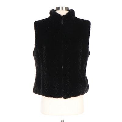 Milor Black Chevron Faux Fur and Greek Key Pattern Reversible Vest