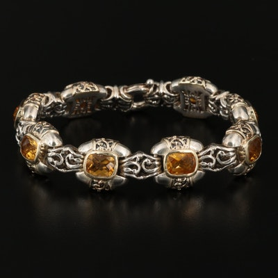 Sterling Silver Citrine Bracelet with 14K Accents