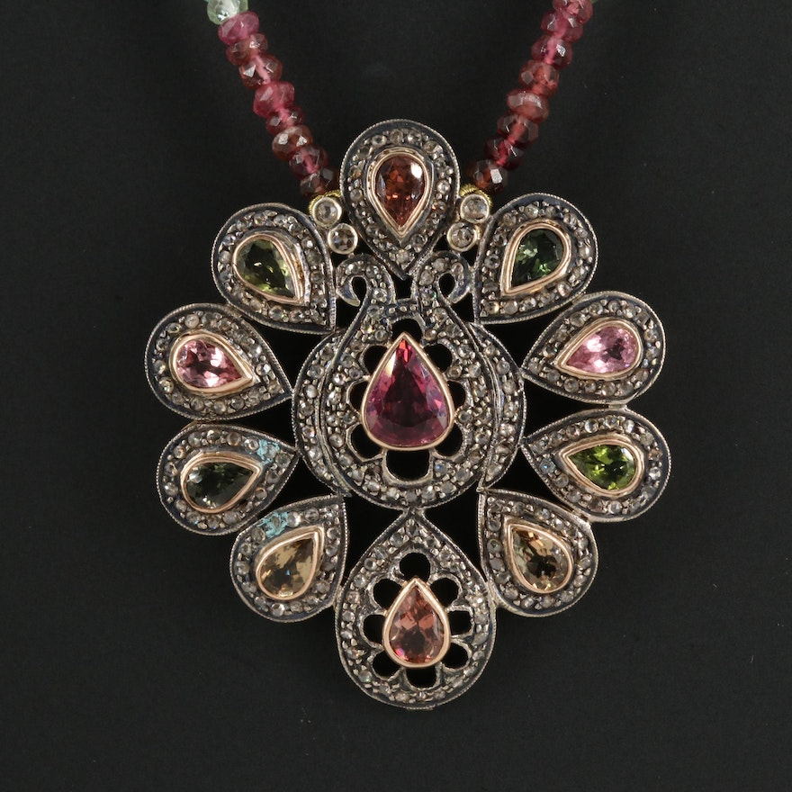Sterling, Glass Bead Necklace, and Tourmaline, Diamond Pendant with 14K Clasp