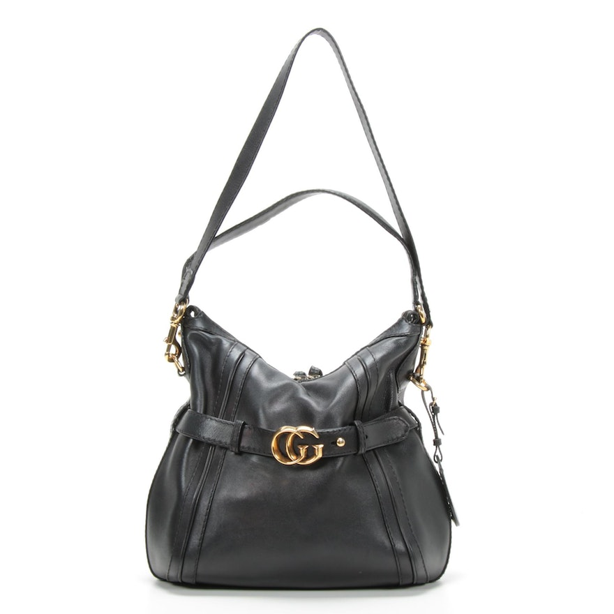 Gucci GG Running Hobo Bag in Black Leather