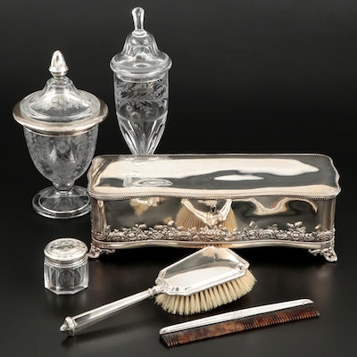 Sterling Silver Brush and Comb Set with Silver Plate Box and Etched Glass Jars
