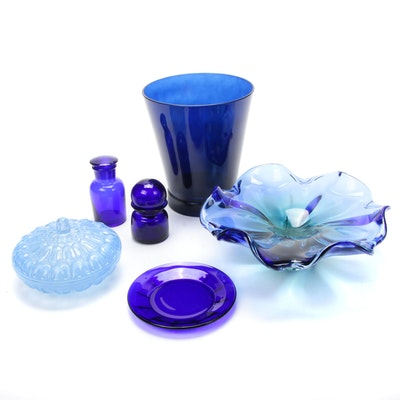 Cobalt Blown Glass Floral Centerpiece Bowl, Apothecary Jars and More