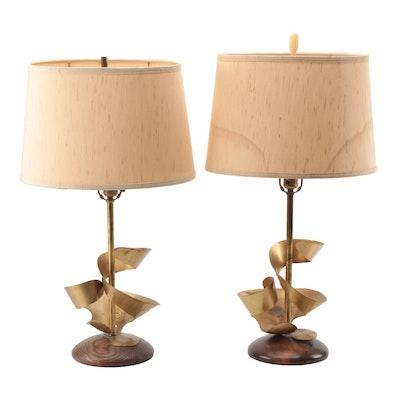 Mid Century Modern Metal Swirl Lamps