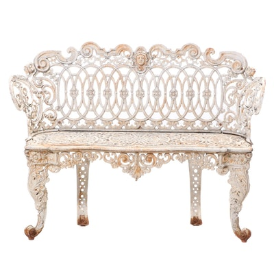 "American White-Painted Cast Iron ""Renaissance Scroll"" Garden Bench, circa 1900"