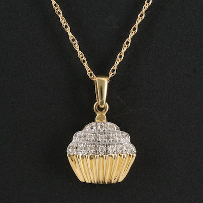 10K Gold Diamond Cupcake Pendant Necklace