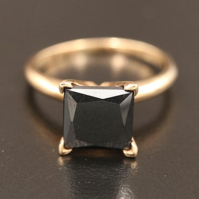 10K 2.76 CT Black Diamond Solitaire Ring