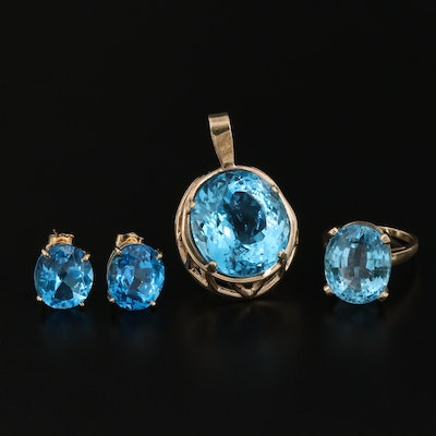 14K Blue Topaz Ring, Pendant and Earring Set