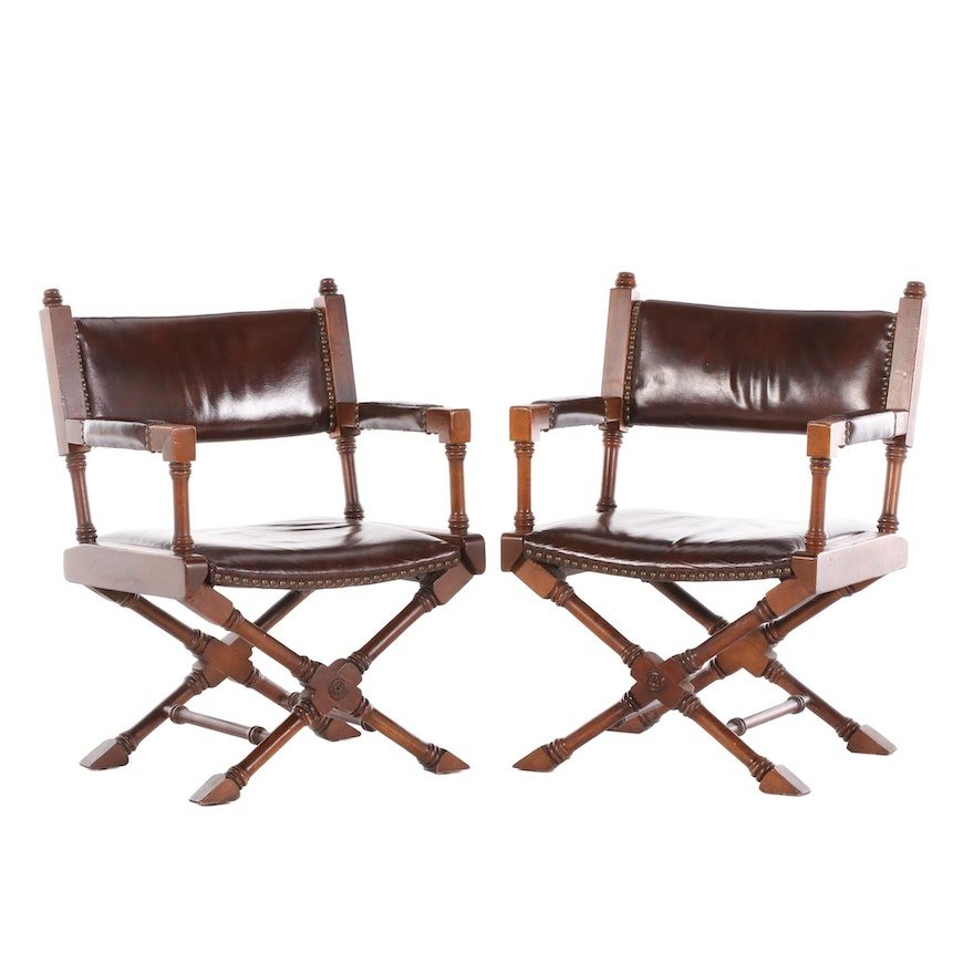 Paoli Director Style Leather Upholstered Armchairs, Mid-20th Century