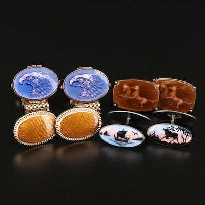 Vintage Enamel Cufflink Selection Featuring David Andersen and Sterling Silver