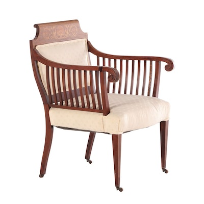 Edwardian Mahogany and Marquetry Armchair, Early 20th Century