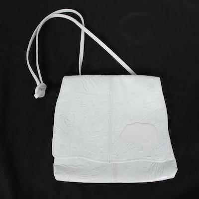 Carlos Falchi Embossed White Leather Aboriginal Art Theme Crossbody Bag, Vintage