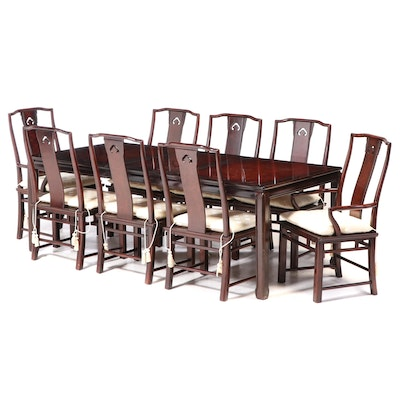 White Furniture Chinese Style Lacquered Wood Dining Set, Late 20th C.