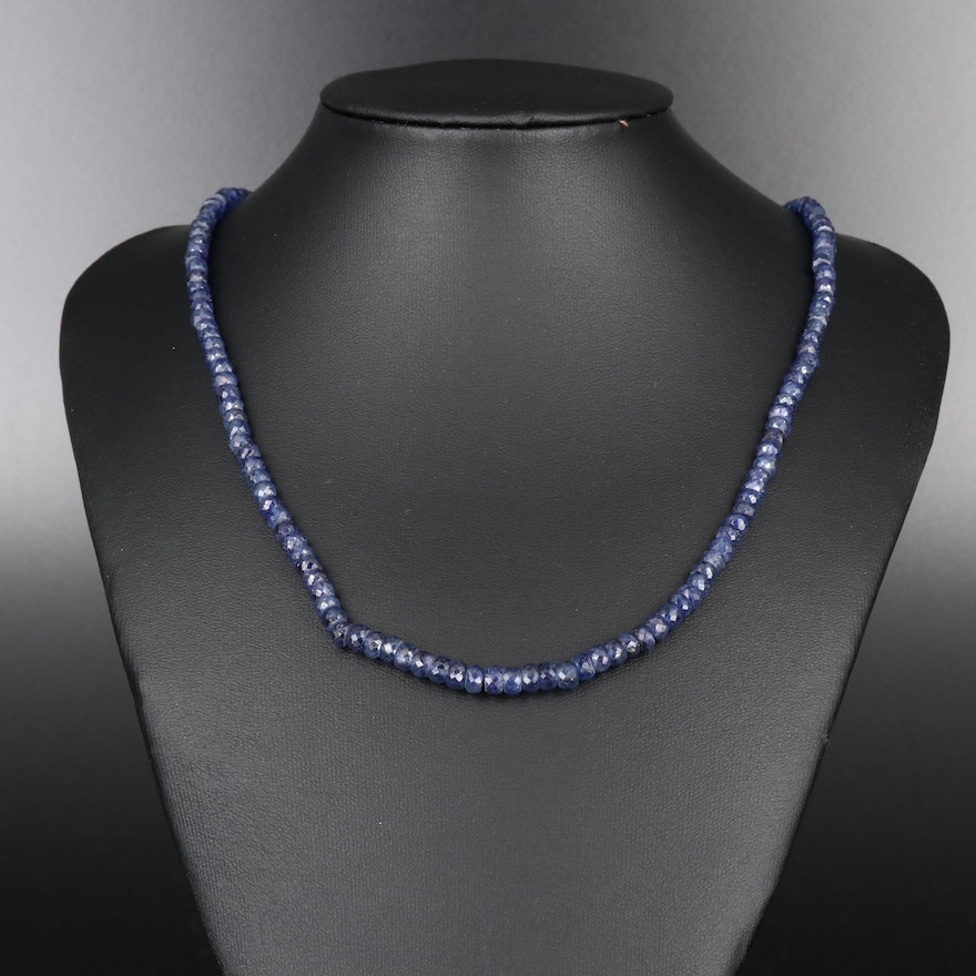 Faceted Corundum Beaded Necklace with 14K Clasp