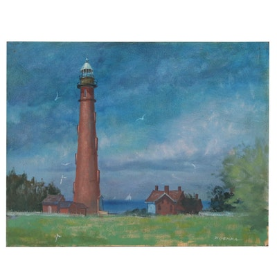 Joseph Di Gemma Oil Painting of Coastal Scene with Lighthouse