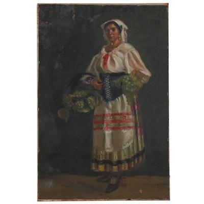 "Joseph Di Gemma Portrait Oil Painting ""Costume of Naples"", 1935"