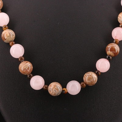 Rose Quartz, Agate and Tiger's Eye Necklace