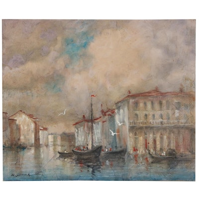 Joseph Di Gemma Oil Painting of Canal Scene