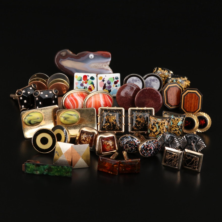 Assortment of Wood, Enamel, and Agate Single Cuff Links including Sterling