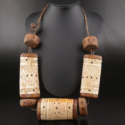 Asian Tribal Style Horn and Wood Necklace