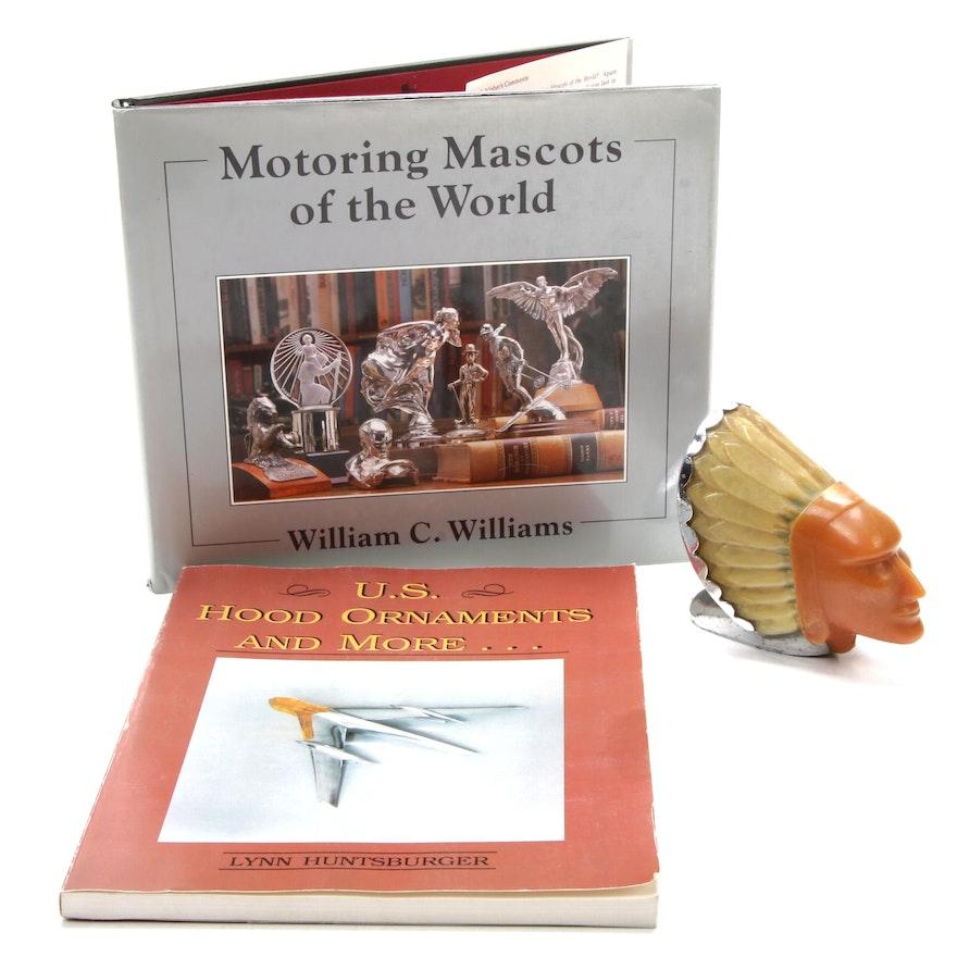 "1950 Blackstone ""Super Chief"" Indian Head Pontiac Hood Ornament with Books"