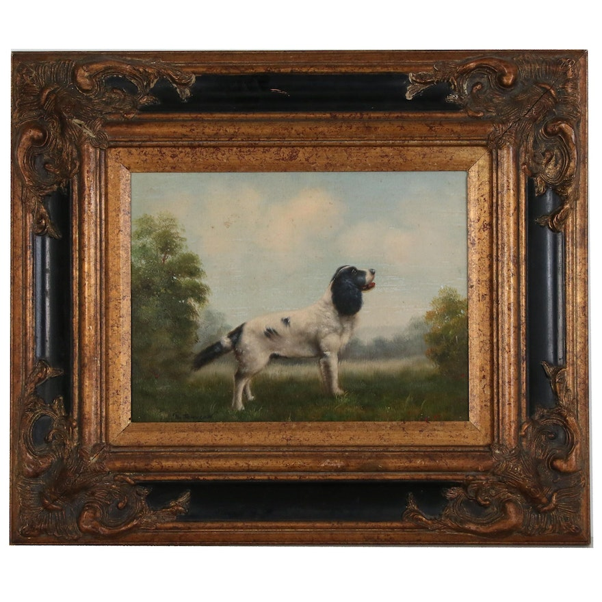 R. Johnson Oil Painting of Black and White Dog in Landscape
