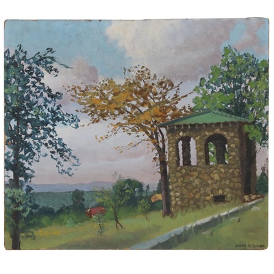 Joseph De Gemma Oil Painting of Park Scene