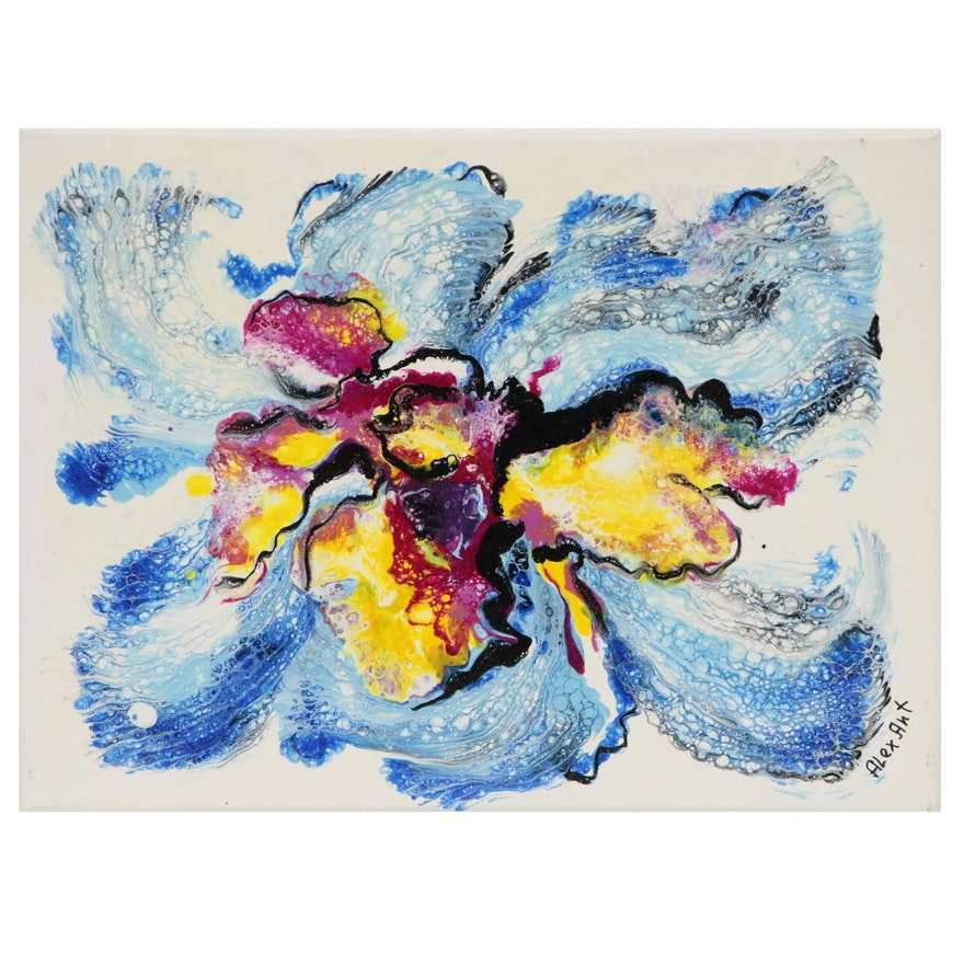 "Alexander Antanenka Abstract Acrylic Painting ""Blue Orchid"""
