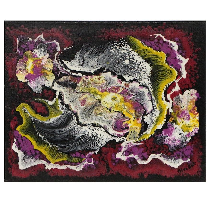 """Alexander Antanenka Abstract Acrylic Painting """"Volcano"""""""