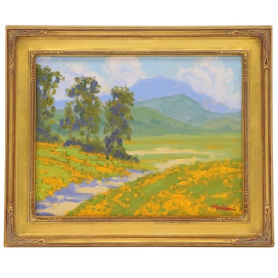 "Marc Graison Landscape Oil Painting ""Summer Valley"""