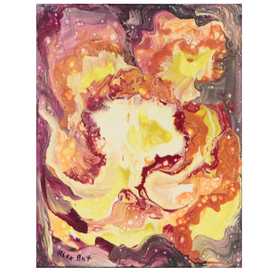 "Alexander Antanenka Abstract Acrylic Painting ""Orchid"""